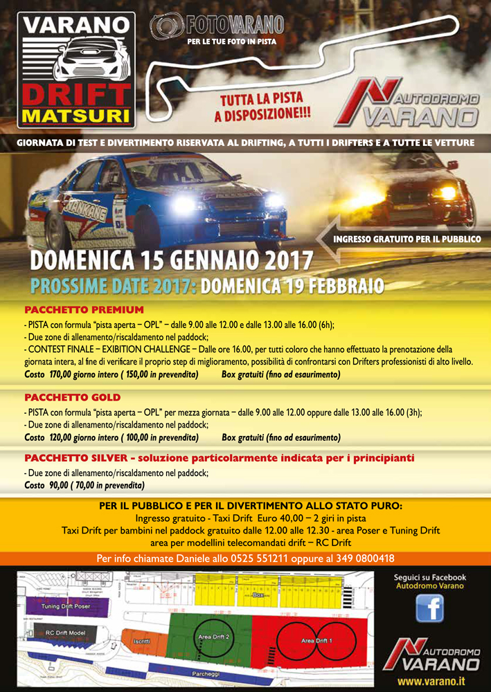 Varano Drift Matsuri - Track Day Drifting - Domenica 15 Gennaio 2017 Locandina-VDM-2017